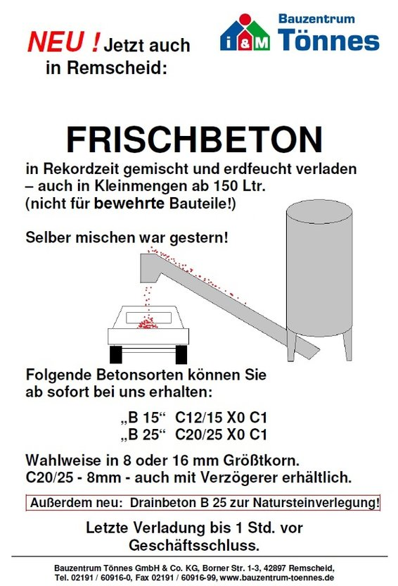 Berühmt i&M Bauzentrum Tönnes: Frischbeton GN05